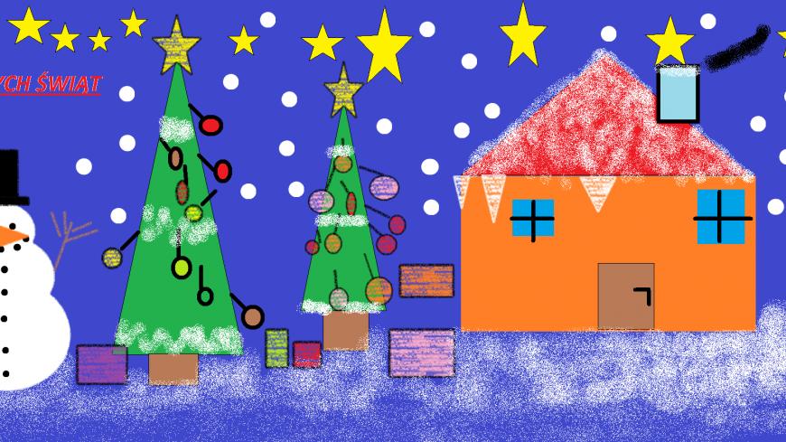 """W Szkole Podstawowej w Borku Kamiennym odbył się Gminny Konkurs Grafiki Komputerowej na kartkę  Bożonarodzeniową """"Wszyscy wszystkim ślą życzenia"""""""